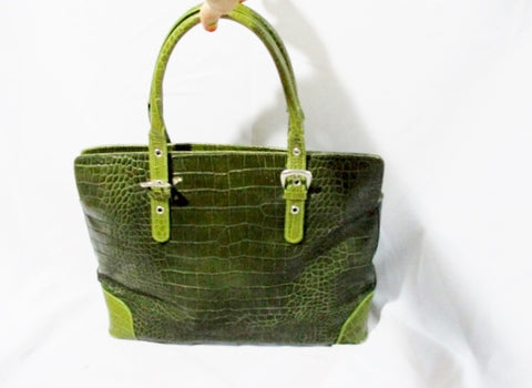 CRISTIAN Italy CROC Pattern Leather TOTE Shoulder Beach BAG OLIVE GREEN Shopper