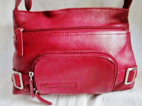 STONE MOUNTAIN leather satchel shoulder bag hobo purse RED CHERRY boho