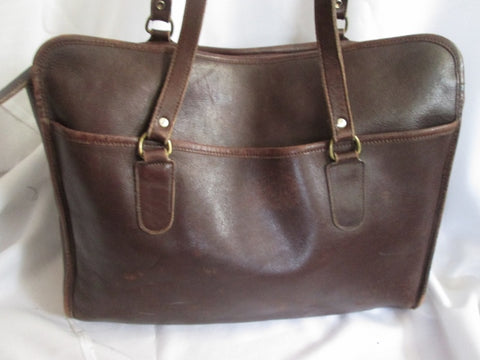 LAURA USA Leather & Brass Shoulder Bag Soft Briefcase Attache TOTE Carryall BROWN