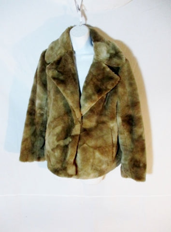 NEW Womens DRIES VAN NOTEN Faux Fur Coat Jacket S Brown Taupe
