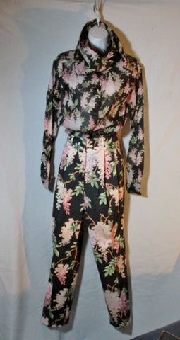 NEW NWT CELINE Set Button-Up Floral Top Shirt Pant Suit 36 / S Womens BLACK
