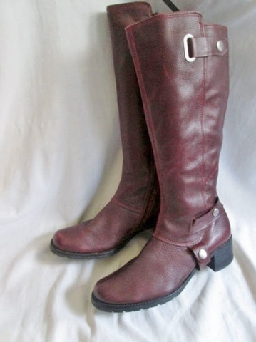 Womens KENNETH COLE REACTION Leather PACK LEADER Moto Riding Boots 7.5 RED BURGUNDY Rocker