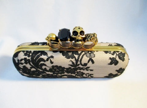 ALEXANDER MCQUEEN SKULL LACE FOUR-RING CLUTCH Case Box Bag GOLD BLACK TAN
