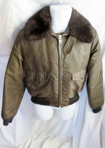 US ARMY SCHOTT BROS B-15 A BOMBER AIR FORCE jacket coat BROWN M Fur Military