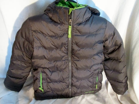 Boys Kids Girls L.L. BEAN DOWN Puffer JACKET Coat GRAY L 6X-7 Hood Winter Ski