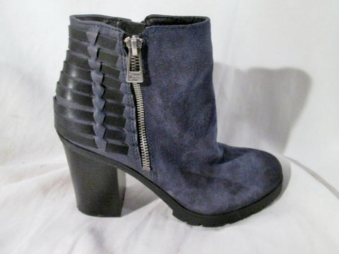 EUC Womens CIRCUS SAM EDELMAN DOVER Leather Ankle Boot Woven Booties BLACK 8 BLUE