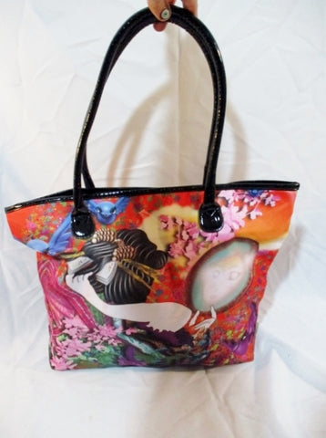 ED HARDY MIGUEL PAREDES TOTE Tattoo Art Anime Purse Multicolor Shopper