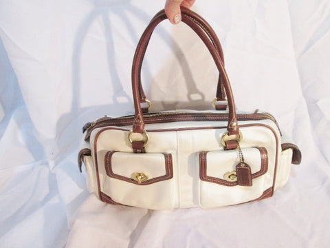 COACH 4453 GALLERY POCKETS Leather Satin Tote Satchel Shoulder Bag Purse WHITE BROWN