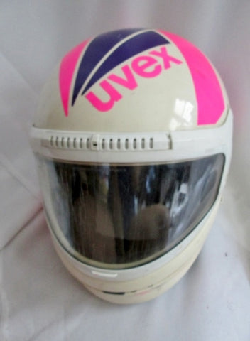 RARE Vintage 1980s UVEX Racing HELMET NEW WAVE WHITE PINK Cosplay PURPLE