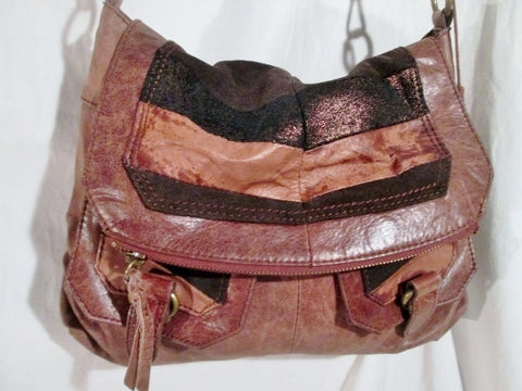 THE SAK Leather Hobo Bag Bucket Saddle Purse Flap BROWN METALLIC STRIPE Hippie Boho