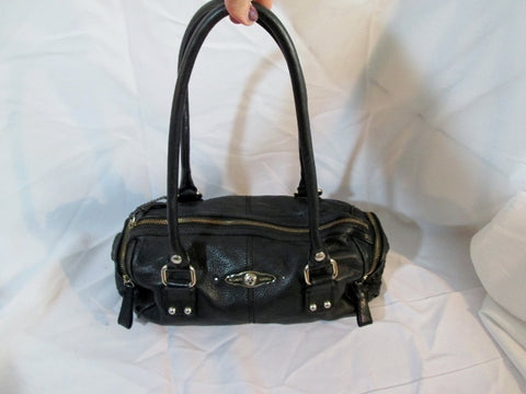 ELLIOTT LUCCA Woven Leather TOTE Purse Bag Satchel Purse Duffel BLACK Saddle Boho