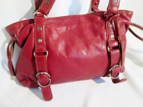 KENNETH COLE REACTION leather satchel shoulder bag purse CHERRY RED tote buckle