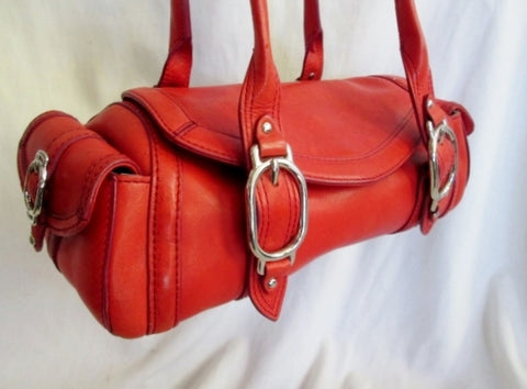 COLE HAAN TRINITY H04 leather handbag shoulder bowler bag Satchel medical RED TOMATO