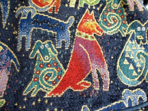 LAUREL BURCH DOG Tapestry Carpet Hobo Bag Purse Bag BLUE Pooch Puppy