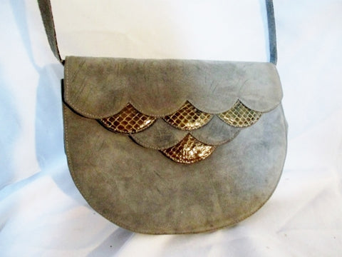 VALENTINO GARAVANI Crossbody Suede Bag Purse GRAY Python Snake BROWN Leather