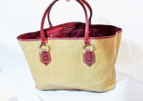 BANANA REPUBLIC Woven Basket TOTE Shopper Bag Leather BURGUNDY BEIGE