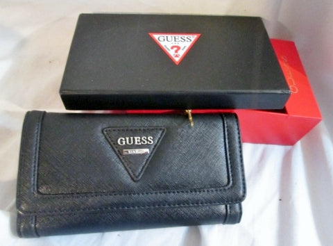 NEW NWT NIB GUESS Women's Polished SLG Trifold Clutch Wallet Organizer BLACK Gift