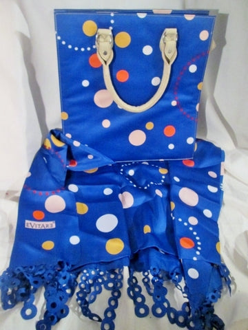 NEW VANESIS EVITARE Set Tote Silk Scarf Bag BLUE POLKA DOTS COBALT Bag Hipster