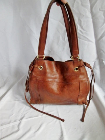 BLACK SAKS FIFTH AVENUE leather drawstring tote satchel shoulder bag BROWN carryall