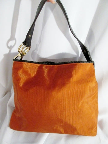 JPK PARIS 75 leather nylon hobo satchel shoulder sling bag RUST ORANGE bucket purse