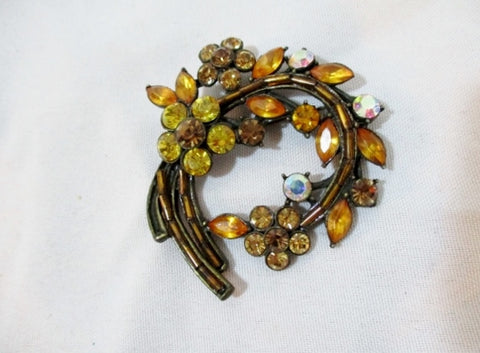 "2.25"" FLORAL BROOCH PIN Rhinestone AMBER BROWN YELLOW Jewelry Retro"