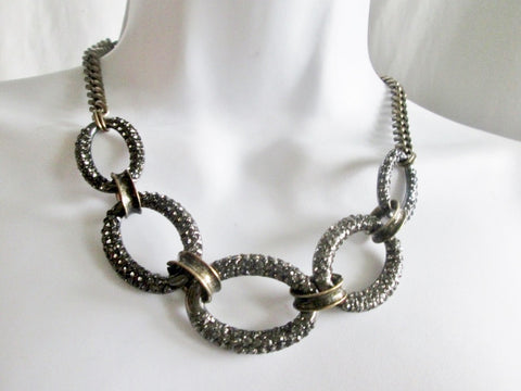 ANN TAYLOR LOFT CHAINLINK RHINESTONE Necklace Statement Chunky LOOP Brass Tone