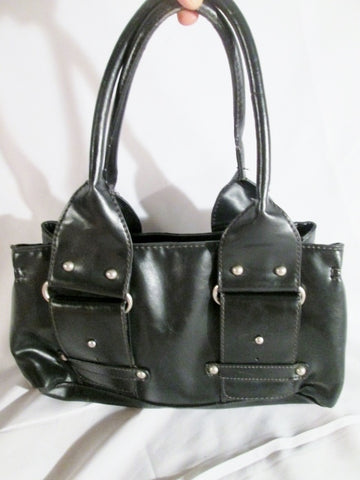 ALDO Faux Vegan Leather Handbag Satchel Bowler Tote Medical Bag BLACK Industrial
