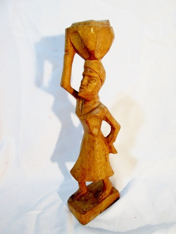 Handmade Carved Wood AFRICAN ART SCULPTURE Statue WOMAN Basket Market Figural TRIBAL