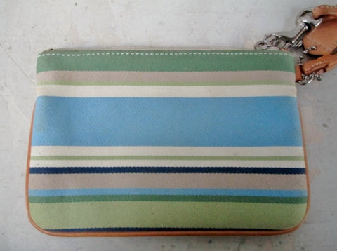 COACH Mini Stripe Cloth Leather Wristlet Purse Wallet Clutch BLUE GREEN TAN
