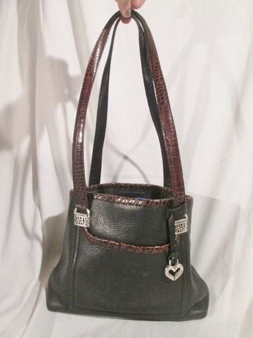 BRIGHTON Pebbled Leather Shoulder Bag Tote Purse Satchel BLACK BROWN