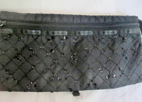 LeSPORTSAC vegan foldover shoulder bag crossbody purse messenger BLACK M Sequin