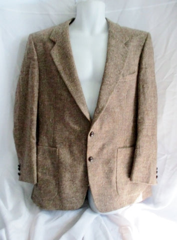 Mens Vintage OLEG CASSINI USA Wool Blazer Sport Coat 46 Brown Beige 2-Button Jacket
