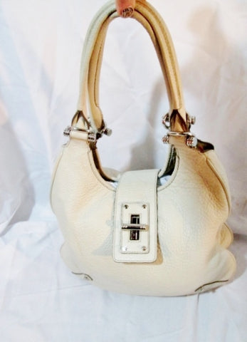 BANANA REPUBLIC Leather Shoulder Hobo Bag Handbag Satchel WHITE CREME Saddle