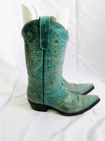Womens YIPPEE KI YAY Western Cowboy Leather BOOT 8.5 Aqua TURQUOISE BLUE ROCKER