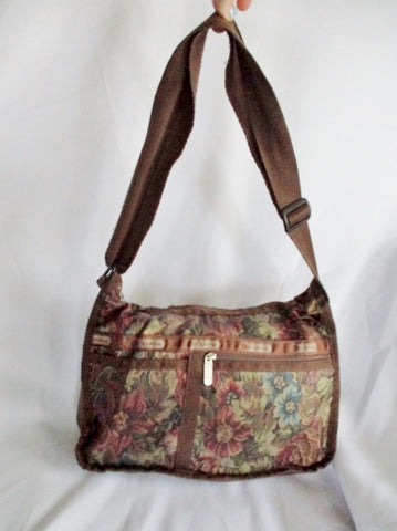LESPORTSAC Nylon shoulder bag purse crossbody Le Sport Sac BROWN FLORAL Vegan