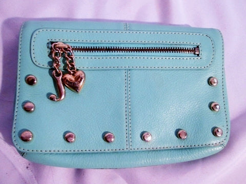 JUICY COUTURE leather stud evening bag wallet AQUA BLUE purse clutch MERMAID MINT