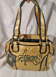 NEW AKDMKS CRUMP Vegan Faux Leather Bag Tote Satchel Clutch GOLD