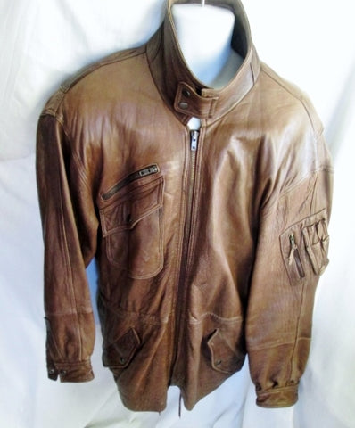 MENS ANDREW MARC Buttery Soft LEATHER Moto Riding Aviator jacket coat BROWN M