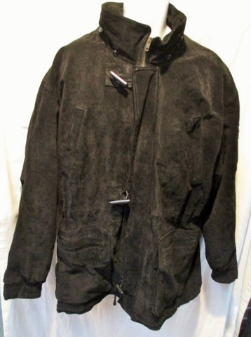 EUC MENS ZEIDLER SUEDE Leather jacket trench coat parka BLACK L Quilted Lining