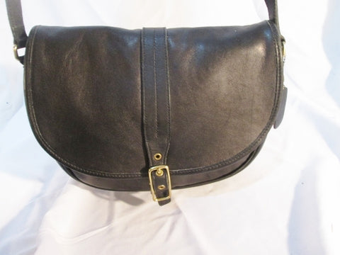 COACH 9824 LEGACY Flap Saddle Bag Leather Purse Shoulder Bag Crossbody BLACK