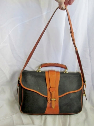 DOONEY & BOURKE Leather Crossbody Shoulder Bag Briefcase Attache BLACK BROWN