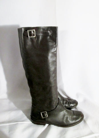 Womens CATS PAW Leather Buckle Moto Rider Biker BOOTS 38 / 7.5 BROWN