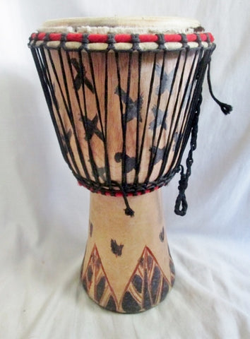 "Handmade 16.5 X 8"" Wood Carved DJEMBE Fur Skin DRUM PERCUSSION MUSIC Africa"