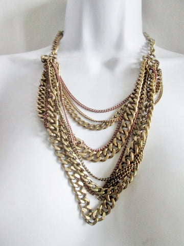 ANN TAYLOR LOFT CHAINLINK Strand Tier Necklace Statement Chunky Choker BRASS TONE