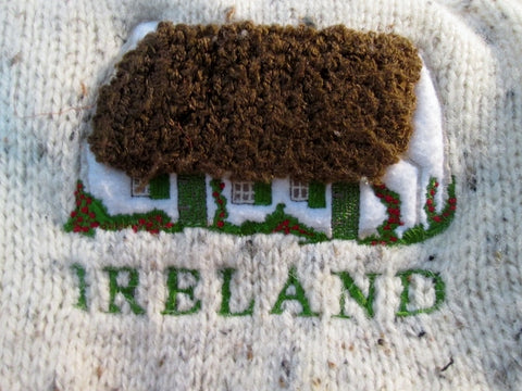 Mens IRELAND PURE NEW WOOL Sweater Fisherman L Knit ECRU HOUSE Embroidered