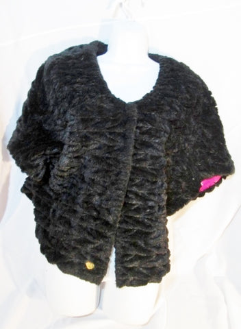Womens BETSEY JOHNSON Faux FUR jacket coat Bolero BLACK L Cape Poncho Shrug Wrap