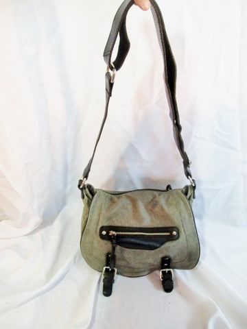 TANO Leather Shoulder Saddle Bag Satchel Purse Hobo Purse GRAY POCKETS Handbag