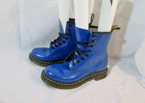 Womens DR. DOC MARTENS LEATHER Ankle Combat BOOT BLUE 6 AIRWAIR Punk