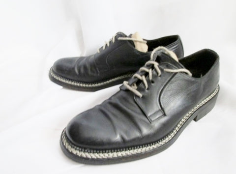Mens NANDO ORSINI ITALY Leather OXFORD Shoes BLACK STITCH 10 / 43 Hipster Derby