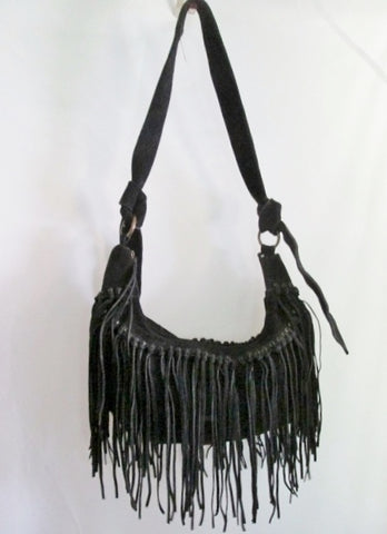 BAGTIQUE Suede Fringe indie hobo satchel shoulder bag slouch purse BLACK Hippie